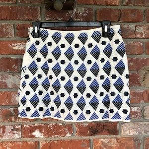 THML embroidered white and blue skirt size small